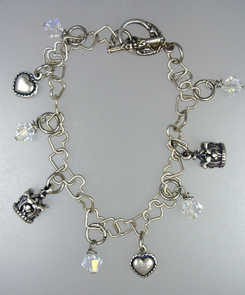 Antique Style STERLING SILVER 925 Charm Bracelet HEARTS Crowns Swavorski Crystals-b-shc