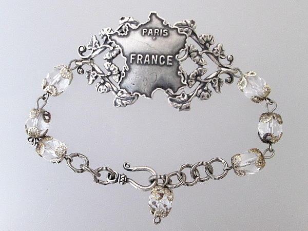 VINTAGE French Silver Map of  FRANCE Crystal BRACELET -b-smapr