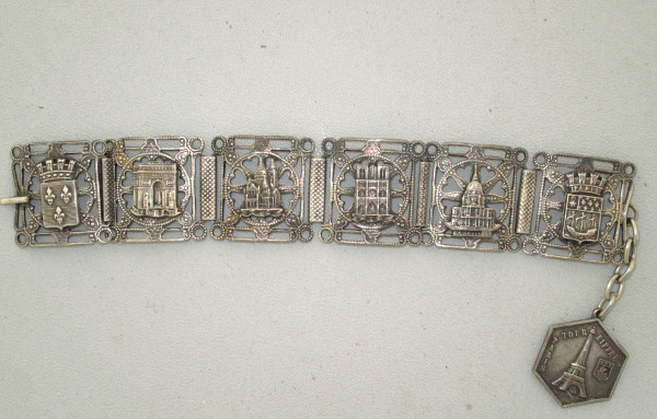 C1920s FRENCH  Silver Souvenir Filigree Bracelet Famous PARIS Monuments Steel Cut EIFFEL Tower-b-soufilx