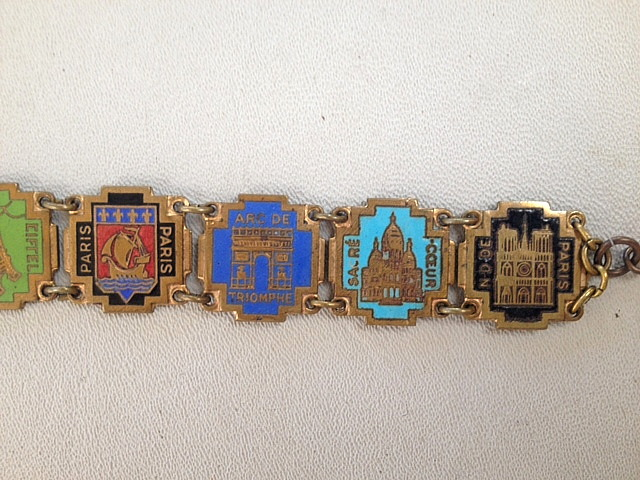 GUILLOCHE Enamel Antique FRENCH Souvenir CHARM Bracelet with All Famous PARIS Monuments EIFFEL TOWER Panels-b-soushld