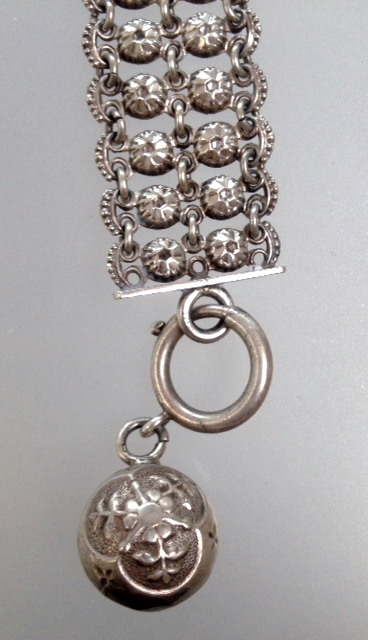 French STERLING SILVER Bracelet Repoussee Ball Charm-b-ssball