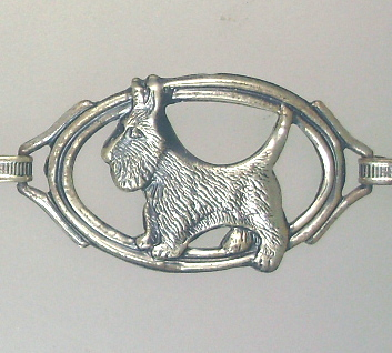 Antique English STERLING Silver SCOTTIE DOG Bracelet Collar-b-sscot