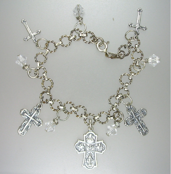 Antique Style STERLING SILVER Charm Bracelet 5 CROSSES Swavorski Crystals-b-sscross