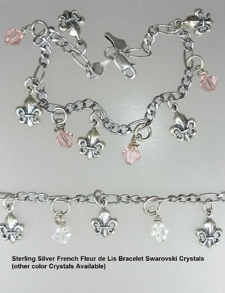 Sterling SILVER 925 Link CHARM BRACELET Fleur De Lis Swarovski Crystals-b-ssfdlc