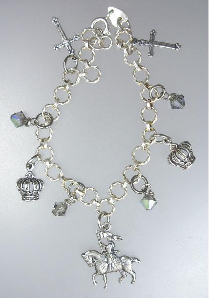 Antique Style STERLING SILVER Charm Bracelet Saint JOAN of ARC Crowns CROSSES Swavorski Crystals-b-ssja