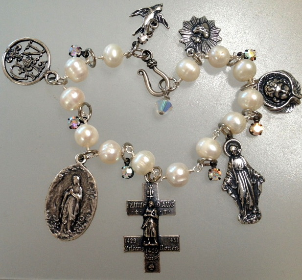 French Religious CHARM BRACELET St JOAN of ARC Cross LORRAINE Sacred HEART Angel LOURDES-b-ssrelpr