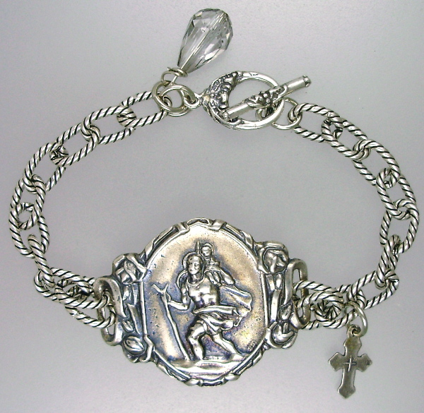 Religious ANTIQUE Style Silver SAINT CHRISTOPHER Medal BRACELET with FRENCH Cross Crystal-b-stcq