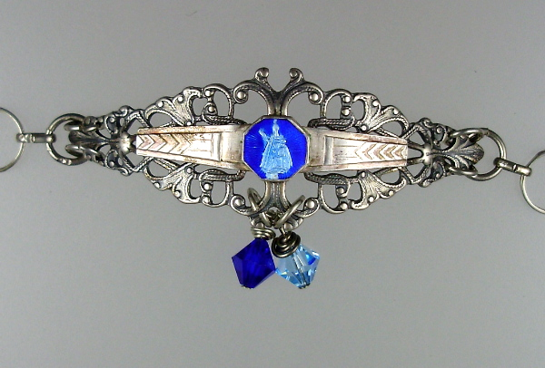 C1900 FRENCH VIRGIN MARY Baby Jesus Blue Enamel Medal STERLING Silver Filigree Bracelet Swarovski Crystals-b-stvg