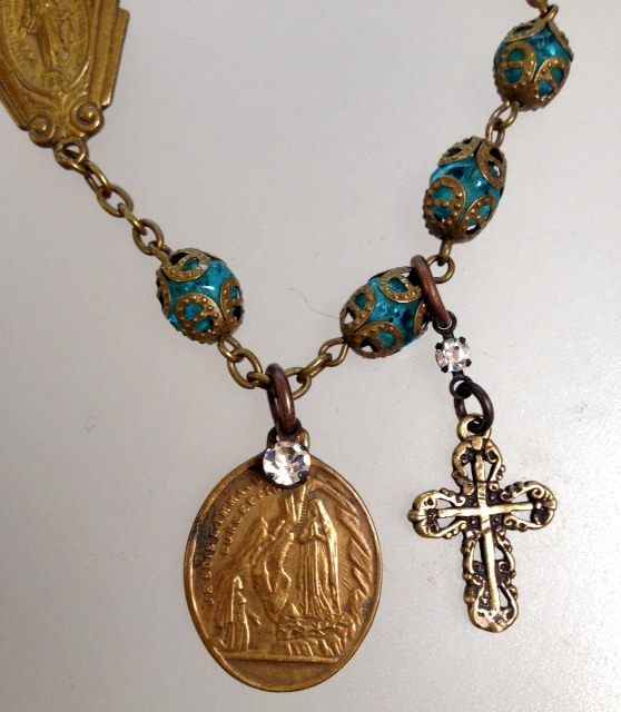Art Nouveau FRENCH Turquoise Filigree Capped Crystal ROSARY Bead BRACELET Bronze CROSS LOURDES St BERNADETTE Virgin-b-tqfilr