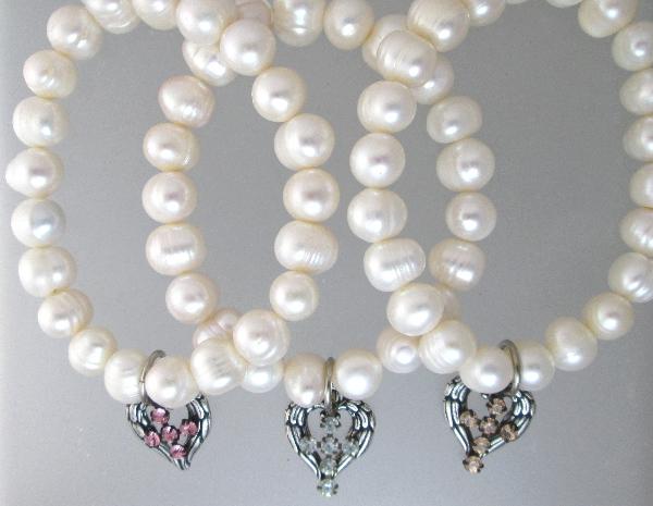 ROMANTIC Silver ANGEL Wing HEART Rhinestone Cross Charm PEARL Bracelet -b-whrtc