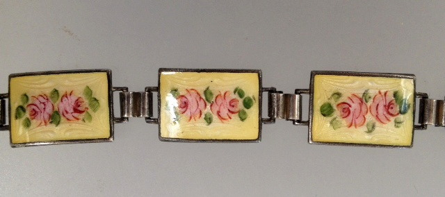 Antique 1920s STERLING Silver GUILLOCHE Enamel CHARM BRACELET Yellow PINK ROSES-b-yelosq