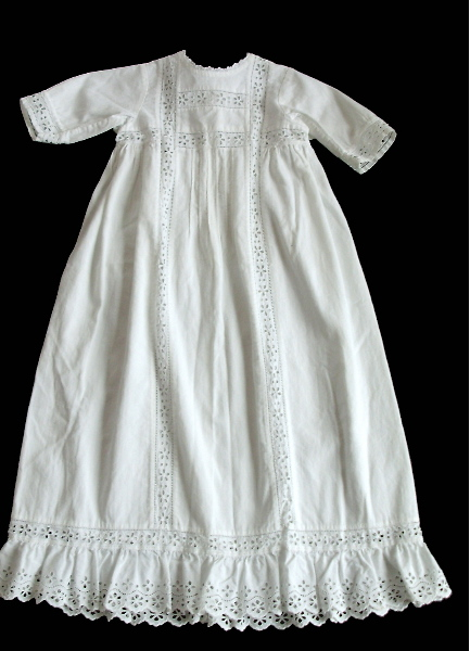 FRENCH Antique 1890 Hand WHITEWORK Cutwork Lace Baby Doll Gown PARIS-bbeye
