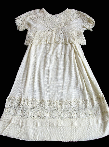 Late 1800s FRENCH Antique Vintage Irish CROCHET BABY DOLL Christening Gown-bbic
