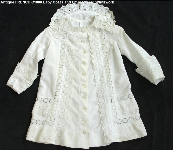 C1860 FRENCH VICTORIAN Baby Doll WHITEWORK Lace GOWN Dress Coat PARIS France-bborg