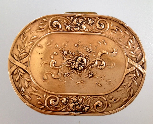 Art Nouveau FRENCH Bronze Floral Cartouche Compact Pill Box MIRROR-bcompt