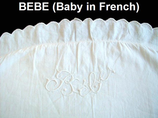 FRENCH Antique HAND Embroidered BABY SHAM Pillow BEBE Scallop Edge-bebesham