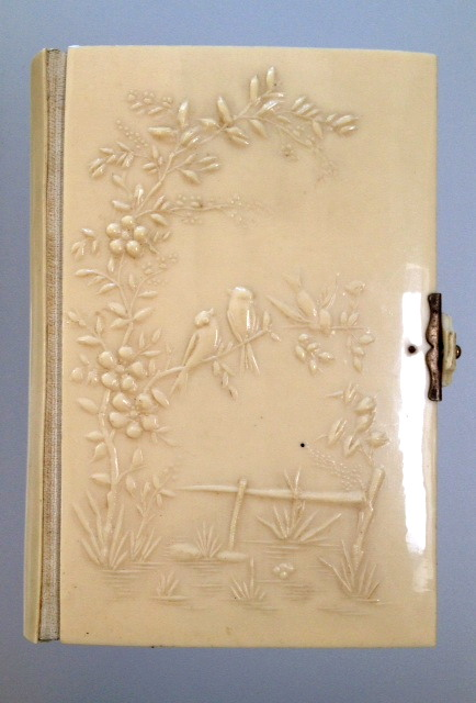 1893 FRENCH Antique Ivorine LIMOGE BIBLE Flowers BIRDS-biblebird
