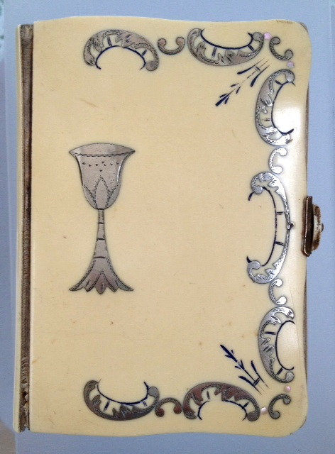 1900 FRENCH Antique Ivory DIJON BIBLE Sterling SILVER Scrolls CHALICE-bibledijon