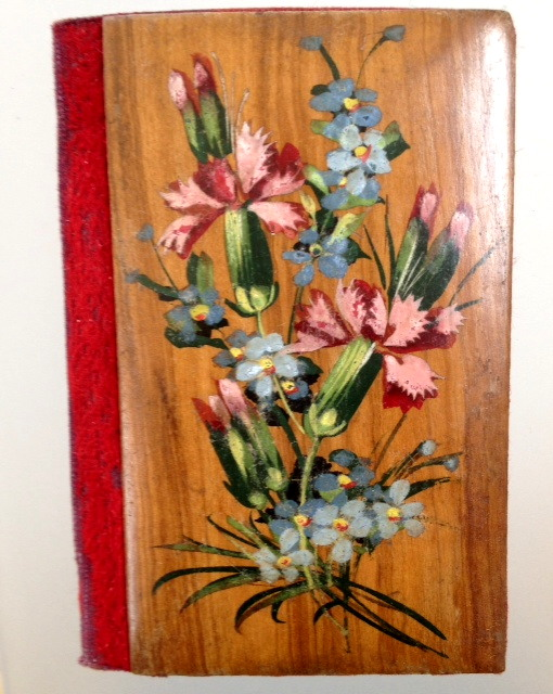 Antique French SOUVENIR Wood Handpainted FLORAL MIRROR Needle Case Book MONTCEAU LES MINES-bx-mlm