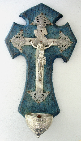 Antique FRENCH Gothic CRUCIFIX  BLUE VELVET Holy Water ANGEL Font  Wood Silver GILT-bluang