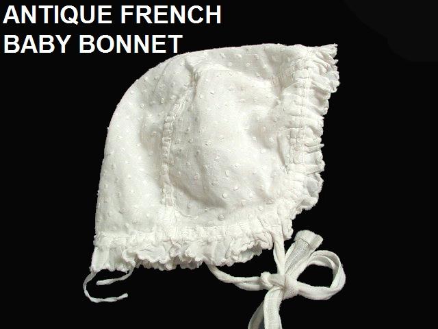 Antique FRENCH  HAND White LACE Baby Doll BONNET-Paris-bondotruf