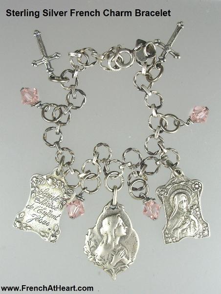 SILVER Charm Bracelet Virgin Mary Saint Teresa Crosses Swavorski Crystals-brc2s