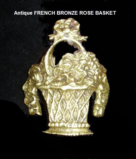 Antique Victorian FRENCH BRONZE Ormolu of ROSES Basket-brzbaskt