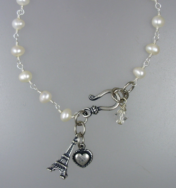 Antique Style EIFFEL TOWER Heart Freshwater PEARL Bracelet STERLING Silverplated CHARM Swarovski CRYSYAL-bsp-p154-150