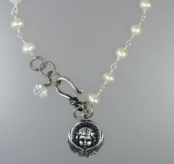 Antique Style ANGEL Freshwater PEARL Bracelet STERLING Silverplated CHARM Swarovski CRYSYAL-bsp-p25
