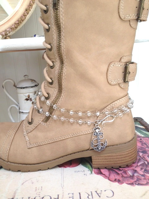ANCHOR Charm Crystal BOOT Jewelry NECKLACE Delta GAMMA Sorority-bt-4sty