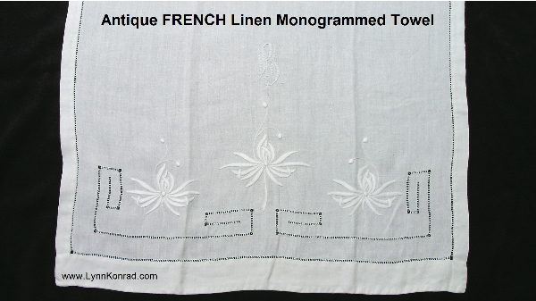 Antique French Hand embroidered Monogrammed Linen Towel-btowel