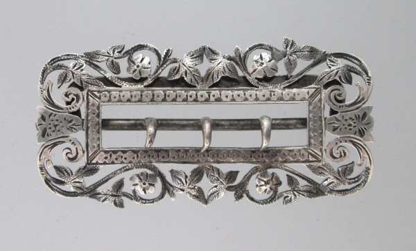 Antique STERLING Silver Repousee  Belt BUCKLE-buck