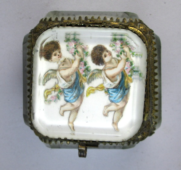 Antique C1880 FRENCH Beveled Glass Jewel Scenic Cask BOX Jewelry w ANGELS-bx-ang
