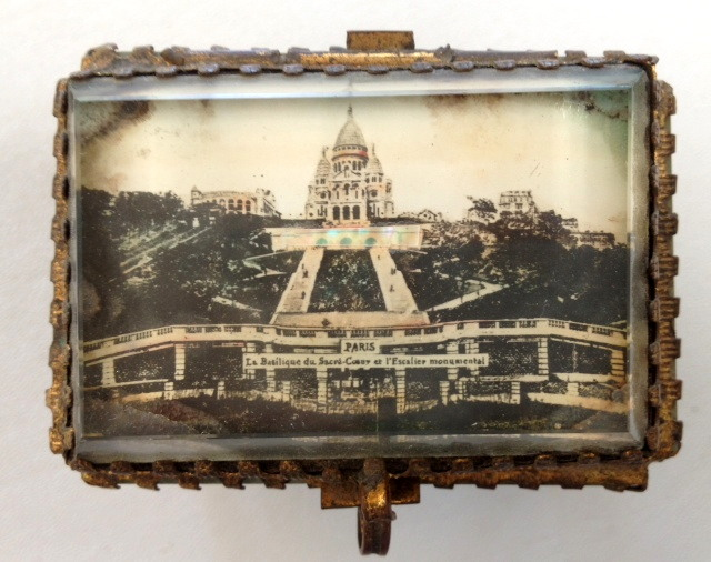 French SACRE COEUR Montmarte Antique JEWEL CASK Box C1880 FRENCH Glass Jewelry Scenic Cask BOX Jewelry-bx-sh
