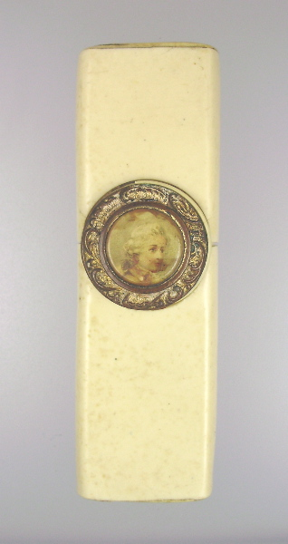Antique C1900 FRENCH Portrait Needle Cigarette Box Case Young Victorian Boy-bx3pt
