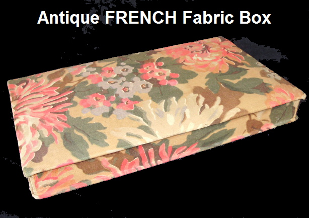 FRENCH Antique Vintage Jewelry Trinket FABRIC BOX Pink-bxcont