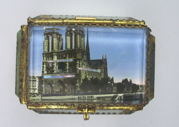 Antique C1880 FRENCH Beveled Glass Jewel Scenic Cask BOX Jewelry w NOTRE DAME-bxnd