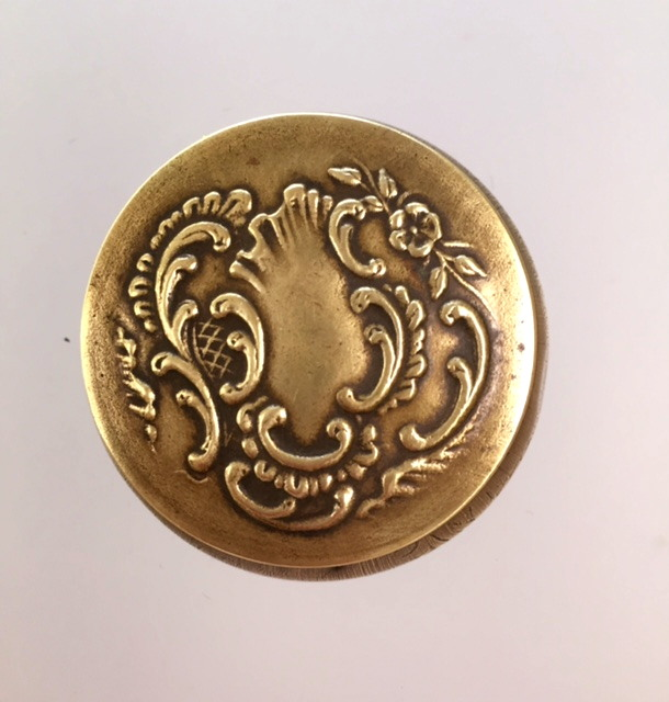 FRENCH Bronze ART Nouveau REPOUSSEE Floral CARTOUCHE Compact Pill Box MIRROR-c-bb