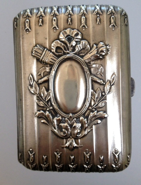 ANTIQUE French Repousse SILVER Card Cigarette Case BOW Flame ARROW Quiver-c-bwq