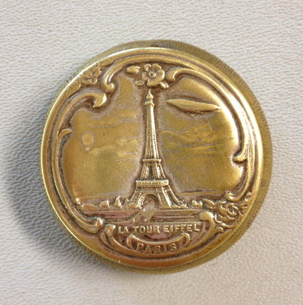 Antique French Brass EIFFEL TOWER Compact Pill Box PARIS Mirror-c-et