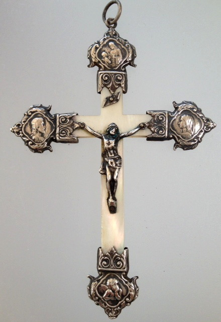 Large FRENCH Sterling SILVER Religious Mother of Pearl CROSS-c-ssmop