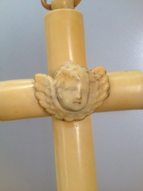 Antique FRENCH IVORY Cross with ANGEL-cangz