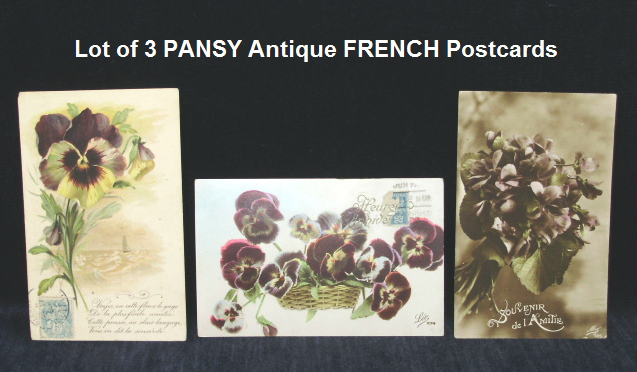 LOT of Old Antique Vintage FRENCH POSTCARDS of with Violet Flowers Pansies-card3pansy