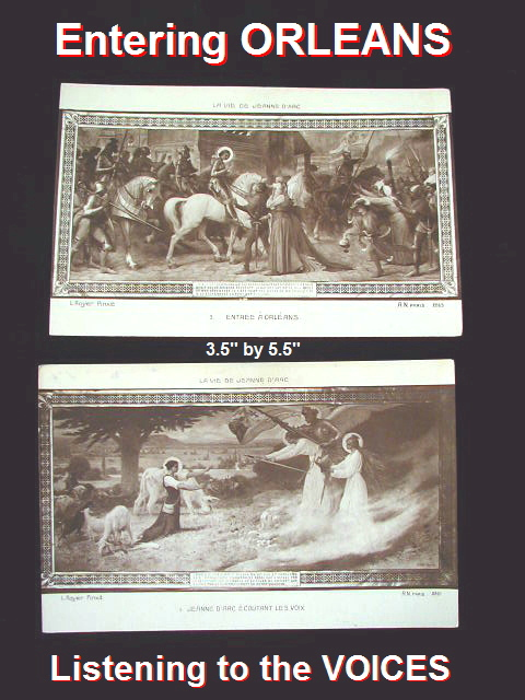 LOT of 2  FRENCH Antique Saint St Joan of ARC Card ORLEANS-cd2sepia