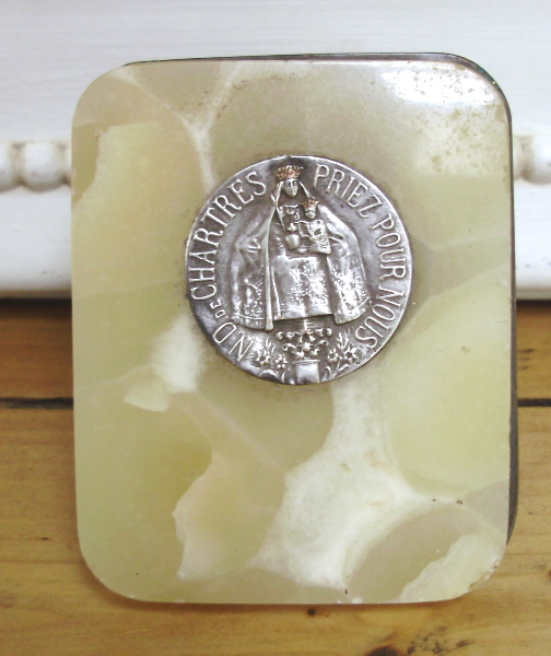 FRENCH Antique Notre Dame De CHARTRES Religious  Wall PlaqueYellow Alabaster MARBLE-chart