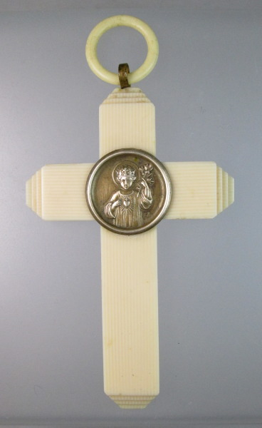 Antique FRENCH IVORY CROSS Bronze CHRIST CHILD-cr-chclc