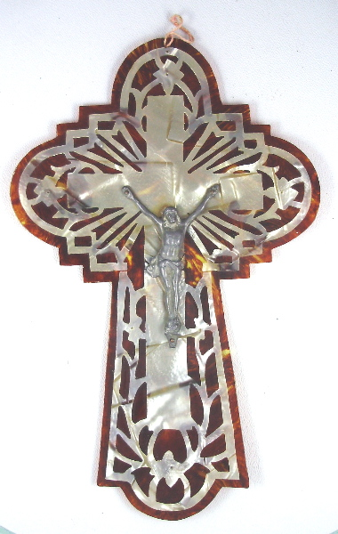 Religious FRENCH Antique Ivory CROSS Bakelite Tortoiseshell INRI-crstrt