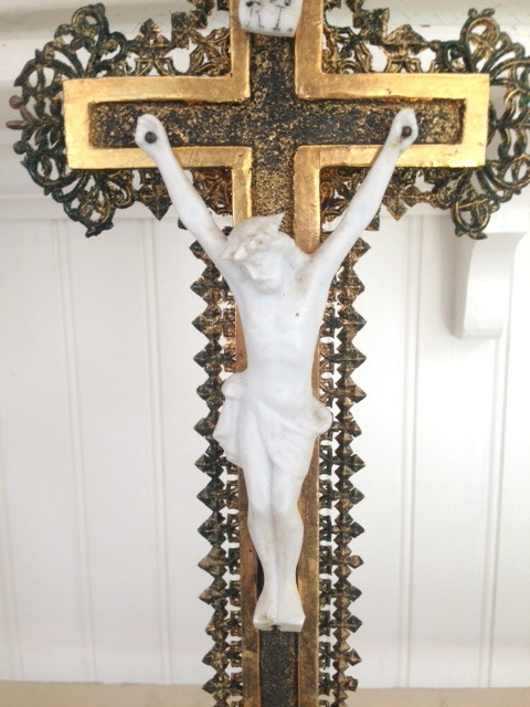 FRENCH Antique Standing Ornate Bisque Wood Gilt Gold JESUS CHRIST Crucifix-crugldbq