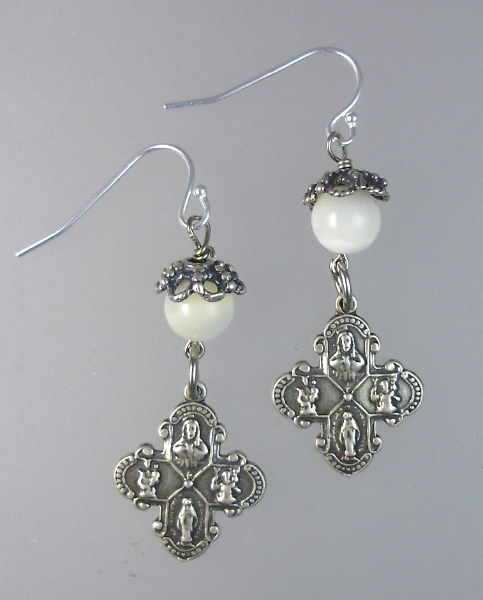 FRENCH Antique Style Sterling SILVER Four Way CROSS Engraved Pierced Dangle EARRINGS Mother of PEARL Beads Filigree-e-4mop