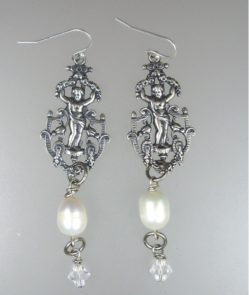 French Antique Style SILVER CHERUB Filigee Engraved Pierced EARRINGS Freshwater PEARLS Swarovski CRYSTALS-e-angfc